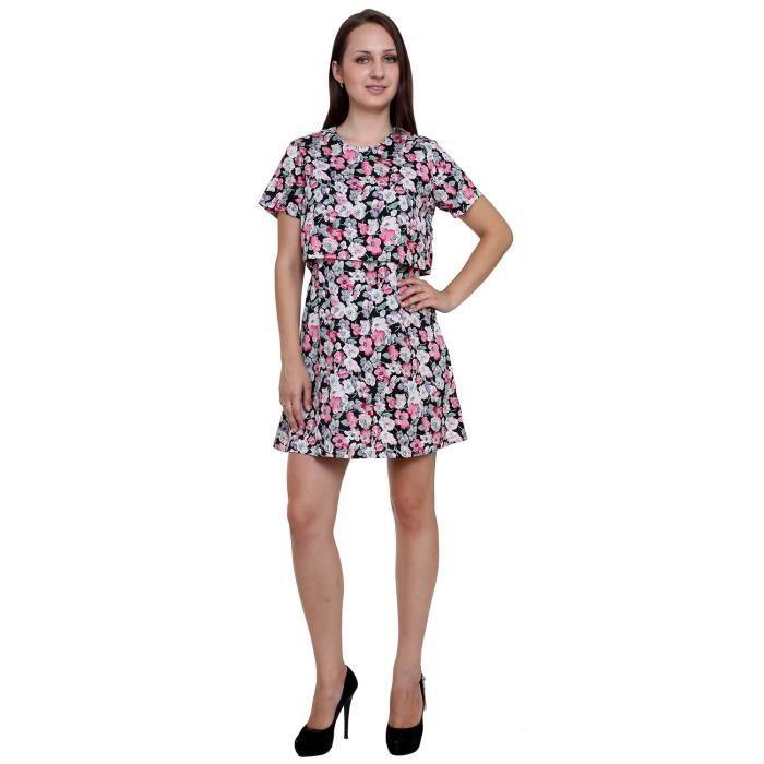 d8f03385972 Femmes A-ligne robe à manches courtes Crêpe W3ZEH Taille-40 Rouge ...