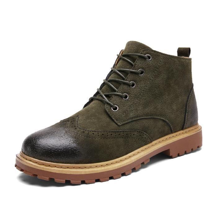 JOZSI Bottine Homme Comfortable Classique Chaussure Hommes SHT-XZ218Vert40
