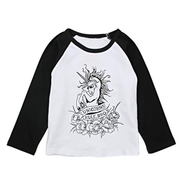 49ae9bca4cec1 3-8 Ans Enfant Fille Garçon T-shirt Unisexe Manche Longue Motif Licorne  Mode Blanc et Noir
