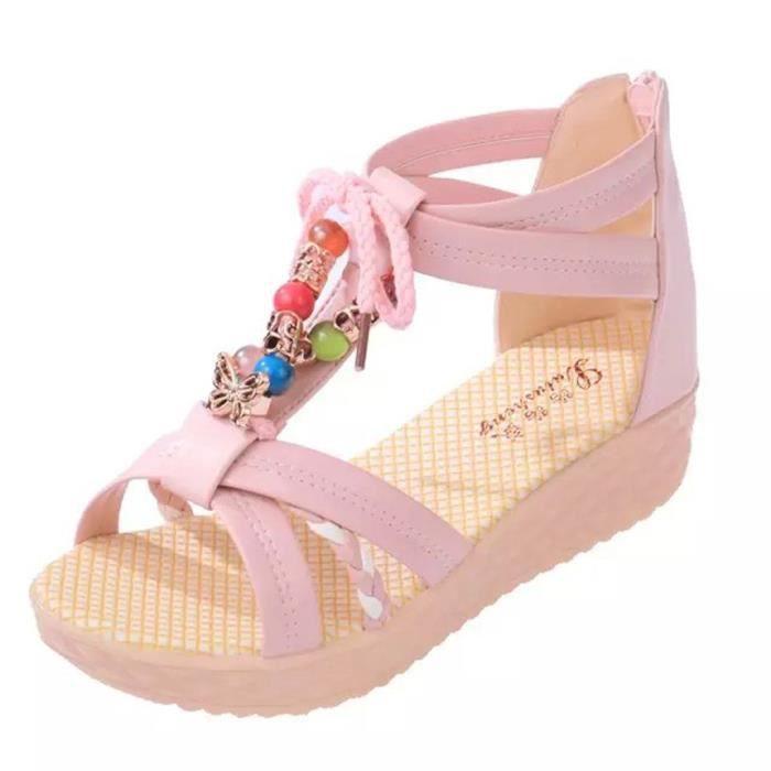 Bohème Pour Dames Chaussures Rose Femmes Perlée Antidérapantes Plage Sandales Zipper WntYnfR