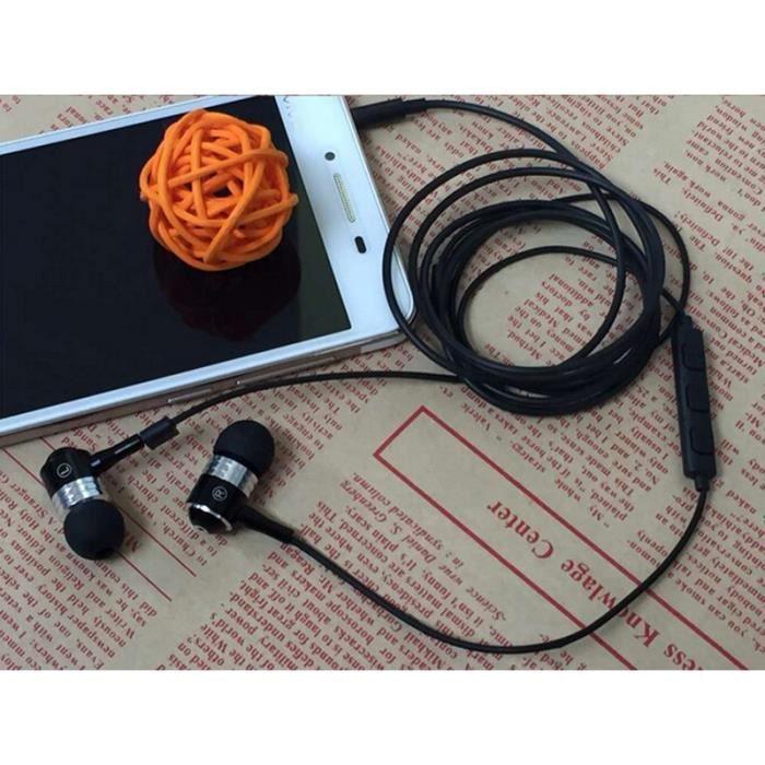 Ecouteurs Métal Pour Alcatel Shine Lite Avec Micro Et Télécommande Réglage Son Kit Main Libre Intra-auriculaire Universel (noir)