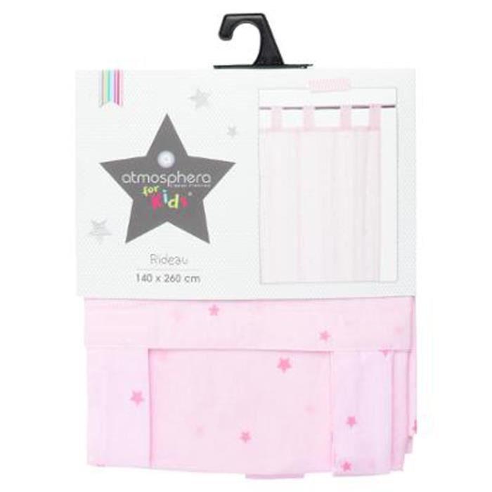 rideau rose toil pour chambre enfant l260 x l140 cm achat vente rideau cdiscount