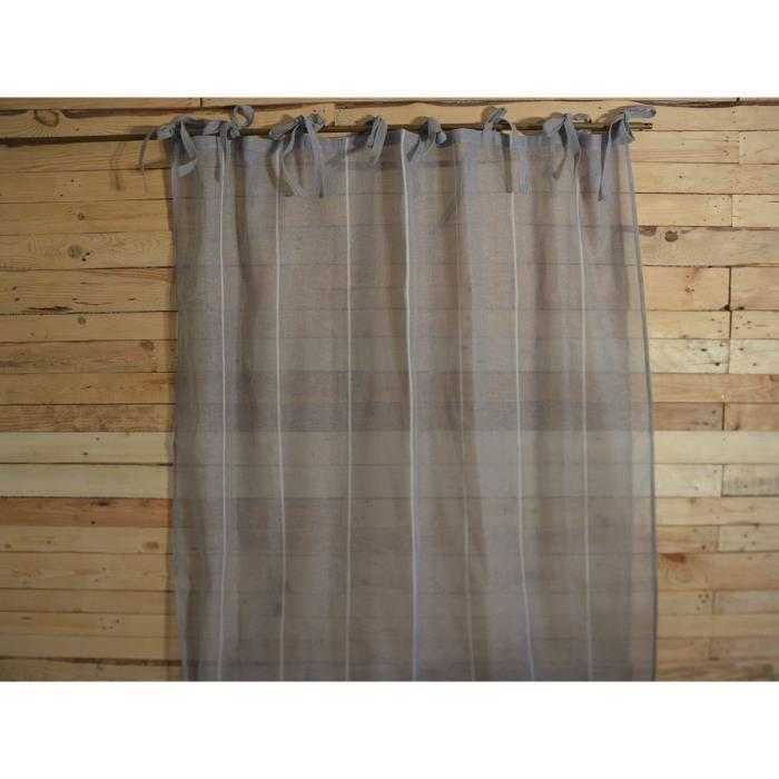 simla rideau voilage nouettes gris et lignes crues simla gris 130 x 270 cm achat. Black Bedroom Furniture Sets. Home Design Ideas