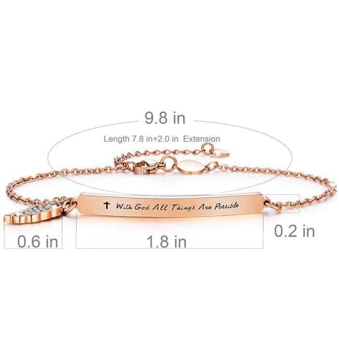 Womens Insipirational Bracelet Engraved Message with God All Things Are Possible Feather Bar Ba GLC9D