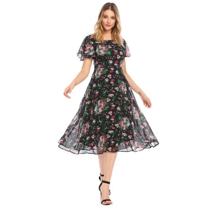 Femmes robe élégante floral fit et flare en mousseline de soie manches courtes casual