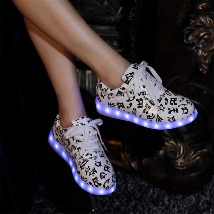 LED allumé chaussures sneakers haut de cuir PU ...