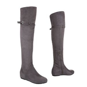 Wedges gris femme compensée bottes overknees chaussure semelle w4SgfqR