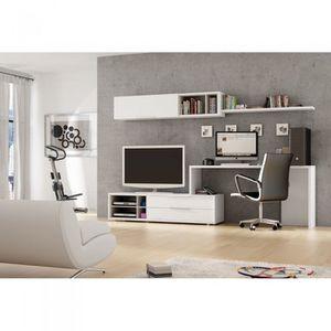 meuble mural tv bureau office couleur blanc m achat vente meuble tv meuble mural tv. Black Bedroom Furniture Sets. Home Design Ideas