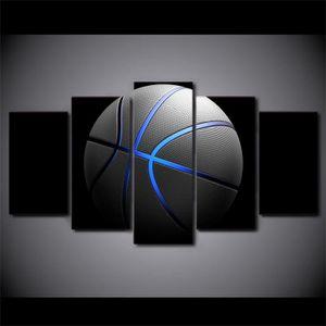 OBJET DÉCORATION MURALE Sans cadre 5 Pièce Toile Art Basketball Peinture B