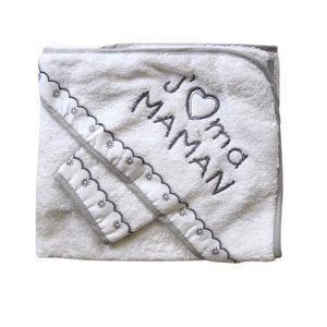 SERVIETTES DE BAIN Parure de bain j'aime ma maman blanc bébé