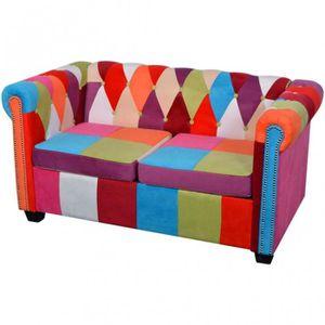 FAUTEUIL Canapé 2 places en tissu multicolore Chesterfield