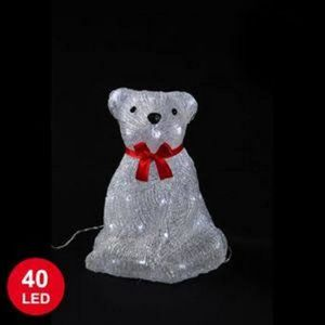 PERSONNAGES ET ANIMAUX OURS LUMINEUX ASSIS NŒUD ROUGE 40LED