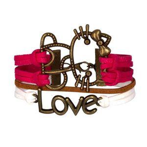 BRACELET - GOURMETTE Bracelet Hello Kitty Rose Chat Love Bronze MultiBr