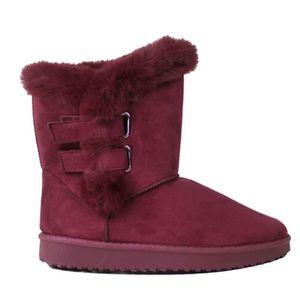 BOTTE Bottes femme fourrées bordeaux type boots en suédi