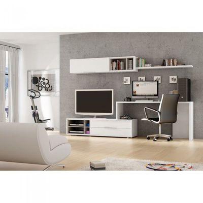 Meuble Mural Tv Bureau Office Couleur Blanc M Achat Vente