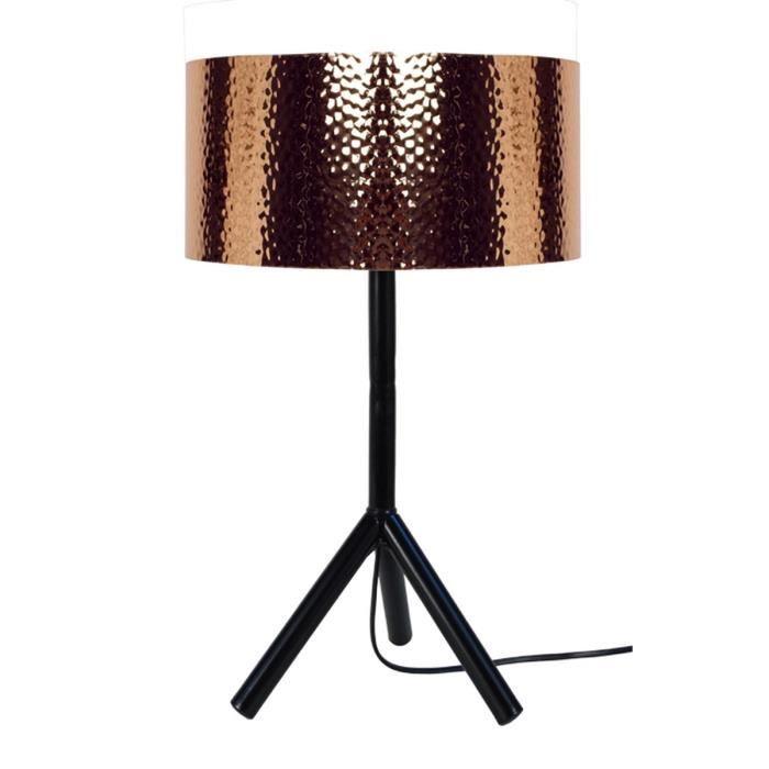 Trident Lampe Trepied Et Fut Metal Hauteur 62 Cm Noir Cuivre