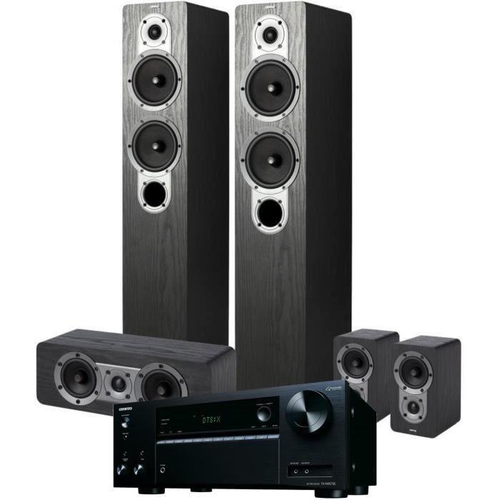 Pack ONKYO TX-NR575E(B) Amplificateur Tuner Noir A/V réseau 7,2 canaux + JAMO S 426HCS3 Système d'enceintes Home Cinema 5.0