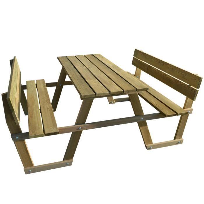 tables d 39 exterieur vidaxl table de pique nique avec. Black Bedroom Furniture Sets. Home Design Ideas