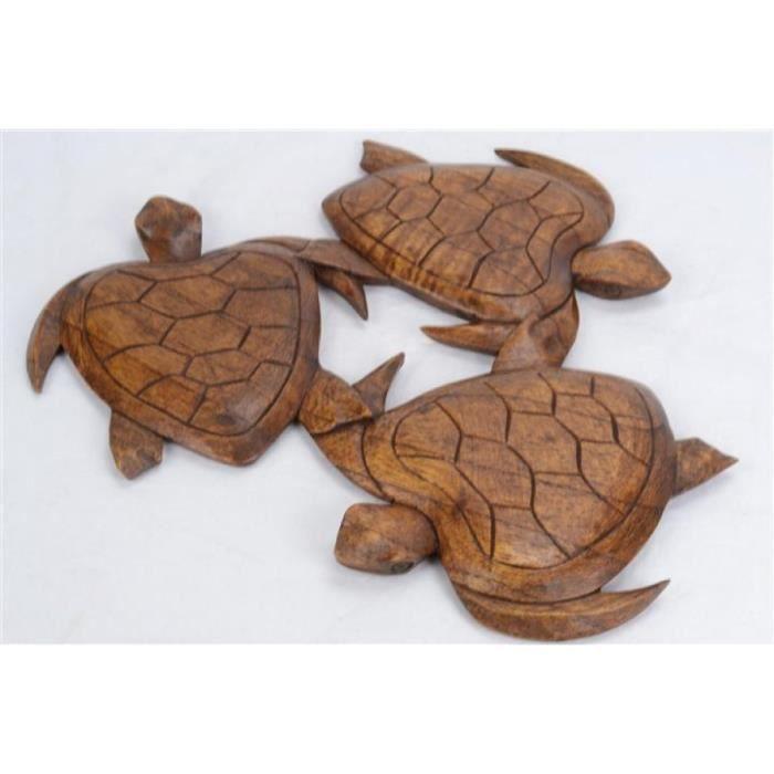 D cor mural la ronde des tortues bois massif sculpt for Decor mural bois