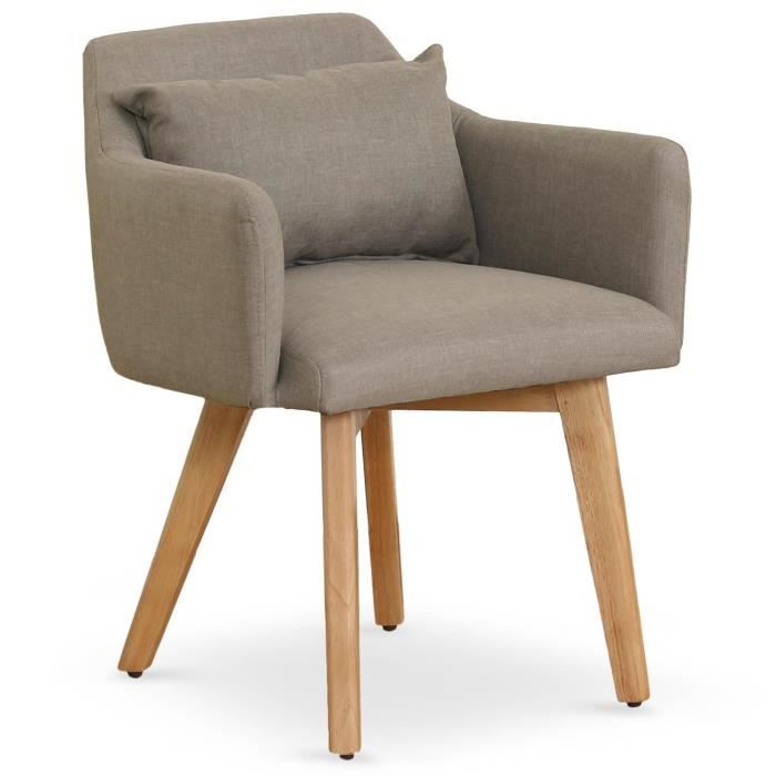 FAUTEUIL Chaise Fauteuil Scandinave Gybson Tissu Taupe