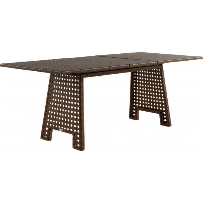 Table extensible résine tressée blanche pieds cannés - Achat / Vente ...