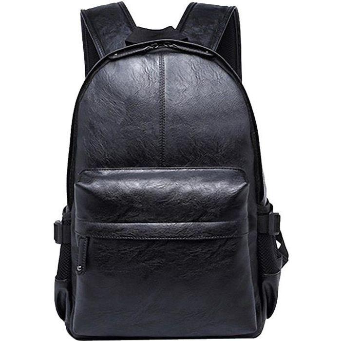 Hommes PU Cuir école Sac à dos épaule Sac dordinateur portable