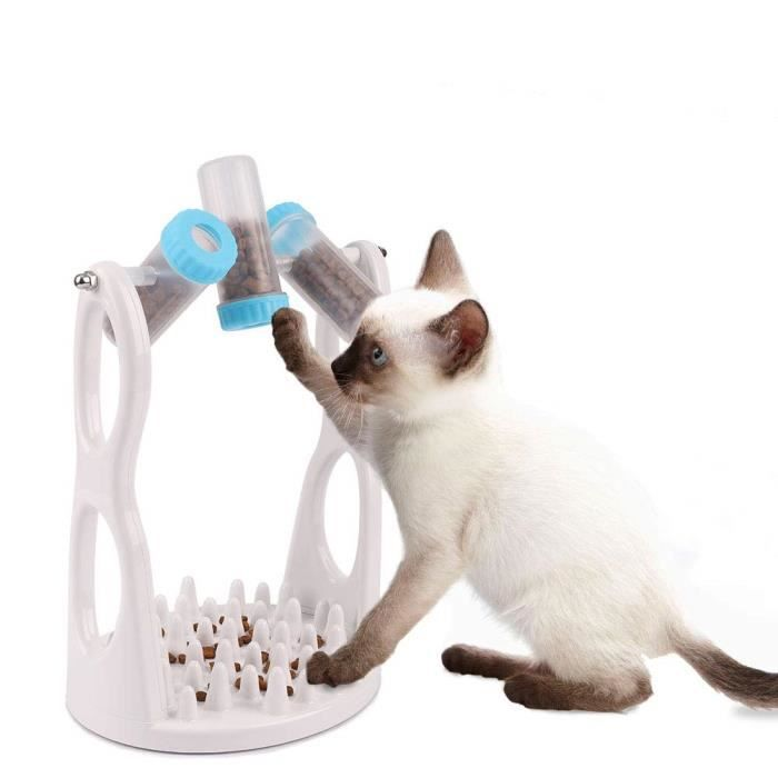 Freesoo Distributeur De Nourriture Pour Chat Jouet Animal Compagnie Gamelle D'alimentation Lente Anti Glouton Chien