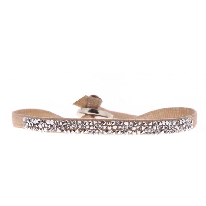bracelet les interchangeables a37057 - bracelet tissu beige cristaux swarovski femme