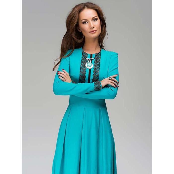 patch dentelle robe de femmes manches longues maxi robe longue