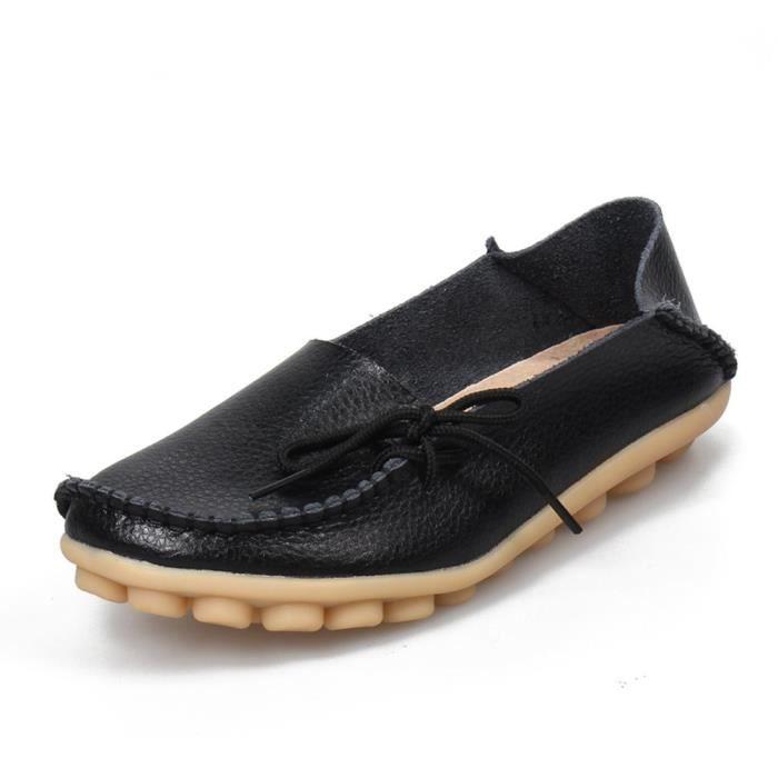 Femmes en cuir de peau de vache Casual Lacets Slipper Slip-on Mocassins Chaussures de conduite plat Q98AW Taille-39 1-2