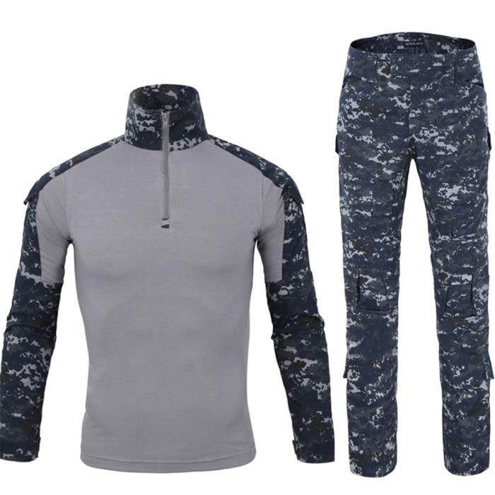ae584f1b9211c2 Chemise de Combat Militaire Homme Uniforme Tactique Séchage rapide à Manches  Longues   Pantalon Costume Tenues de Combat Pantalon Mi