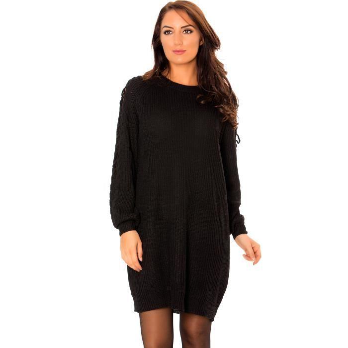 Robe pull tunique effet tricot noire ample femme avec lacets au niveau des  bras très tendance (Unique - noir) c3e964d3868e