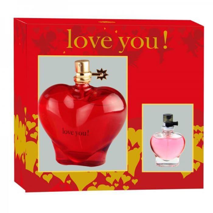 8495a00d255fd Coffret Eau de Parfum Femme Love You Red 100 ml + Parfum de sac 15 ml -  Sensuel et intense