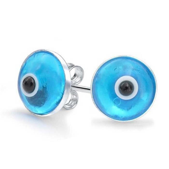 Argent Sterling Blue Evil Eye Boucles Goujon