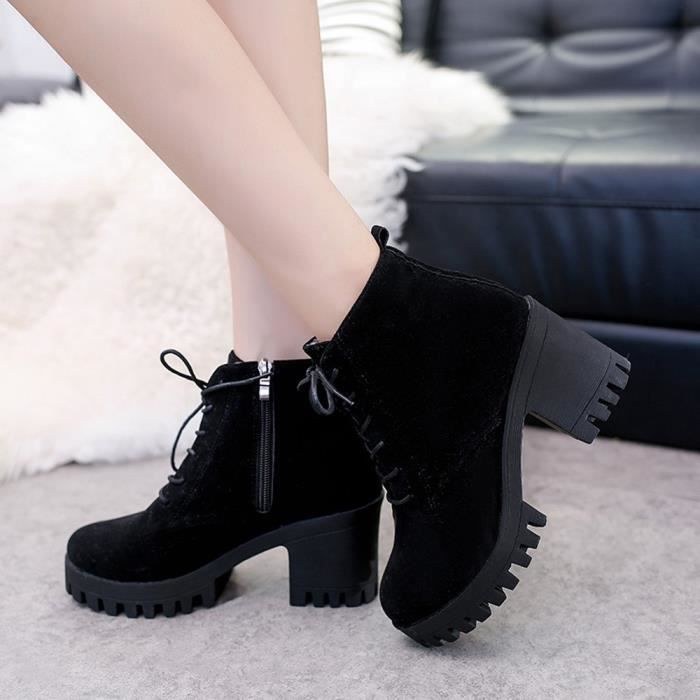 Leather Noir Lace Shoes Round Boots Toe Martin Non Femmes Fashion Casual up slip F40R77