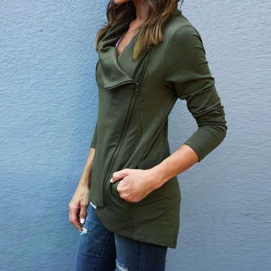 Reservece Outwear Femmes La Fit De Manteau Blazer Fashion Slim Zipper Parka Veste Casual Vert ffdxrwq8Z