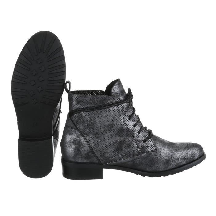 Femme chaussures bottillon lacer bottes Used optique noir 41