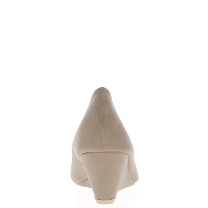 ronds taupe femme bouts de à talon 6cm Compensées nwzqUfRO8x