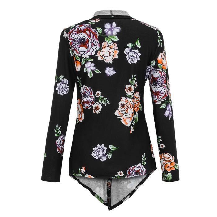 Impression Manteau Ouvert Manches Cardigan Noir Femmes Plus D'hiver À Size Blazer Longues xqCwFIzZ