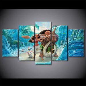 TABLEAU - TOILE Imprimé 5 pièces toile peinture océan Romance film