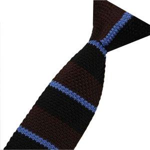 1228f9cdaf51c CRAVATE - NŒUD PAPILLON Cravate tricoté pour homme Rayure Marron Noire