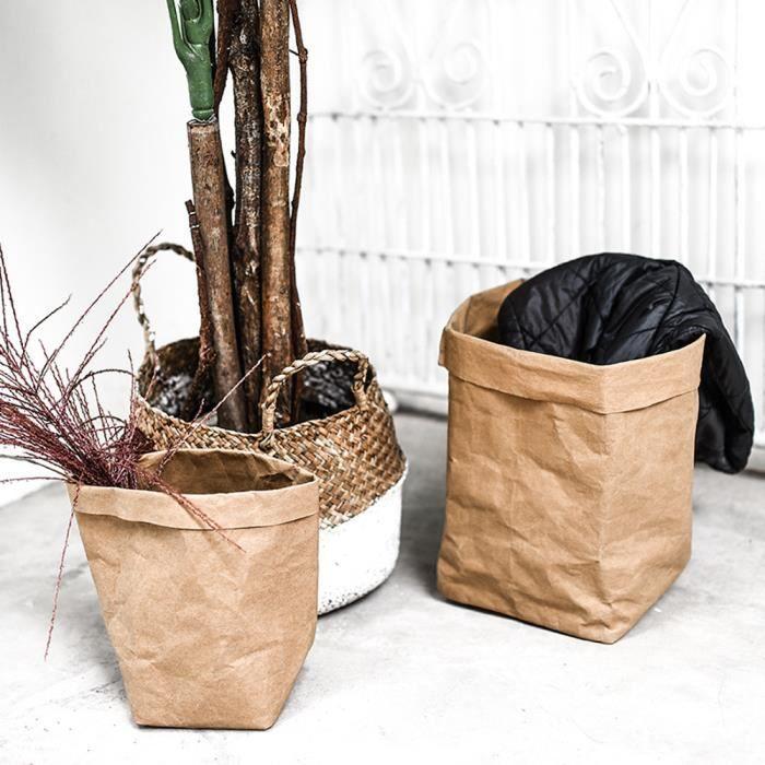 624fbda5ec7f 1pc Lavable papier Kraft sac plantes fleurs pots multifonction ...