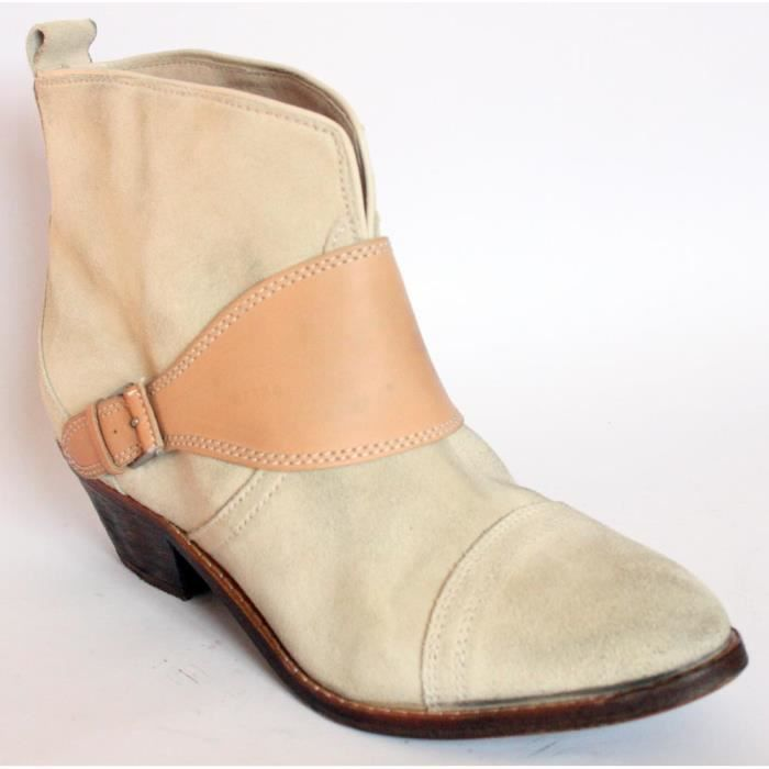 BOTTINES BASSES CHAUSSURES FEMME 100%CUIR BEIGE T 40 NEUVES