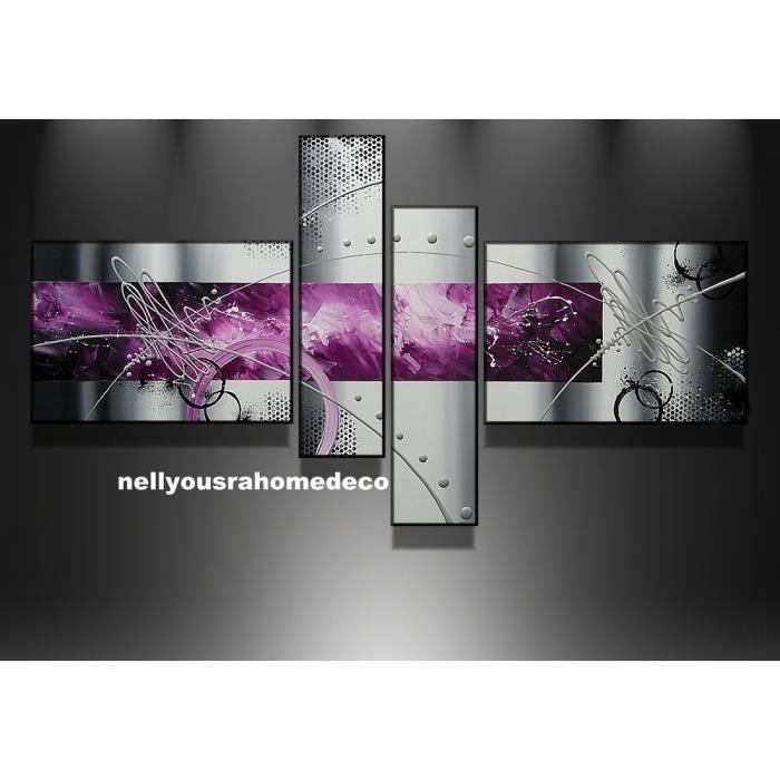 tableau design alc e 120cm noir gris argent violet fait main en france achat vente tableau. Black Bedroom Furniture Sets. Home Design Ideas