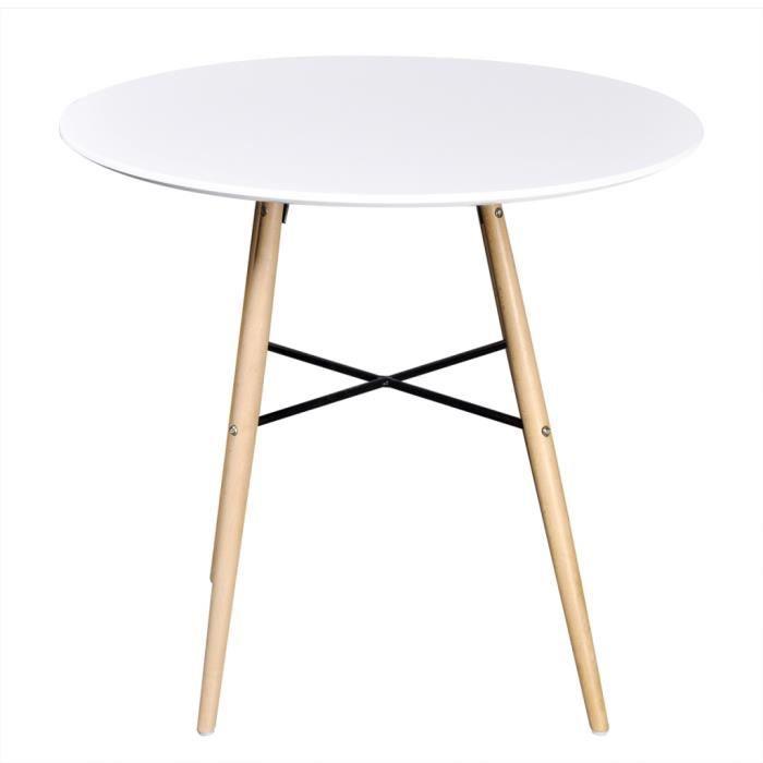 Table Ronde Moderne table ronde moderne avec pieds en bois - blanc - - achat / vente