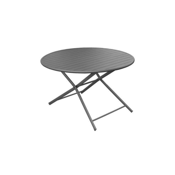 Table ronde pliante D 120 cm Grise - GLOBE