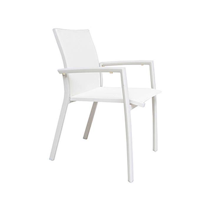 FAUTEUIL JARDIN Lot De Chaises En Alu Blanc Et Textilne Syd