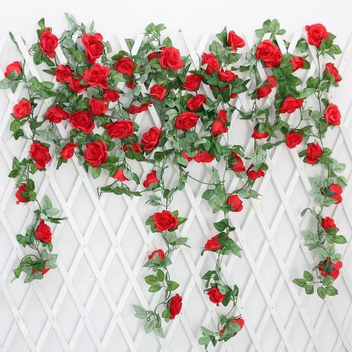 2 Pcs Simulation Rose Vigne Tenture Murale Artificielle Fleur Rotin Salon Plafond Decoration Rouge