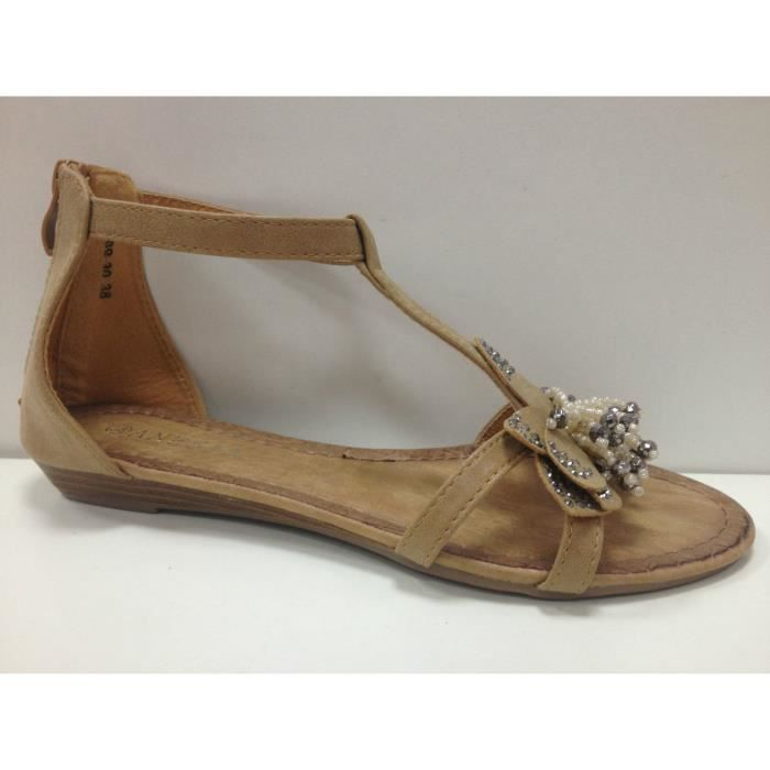 c3b9dbe0479 Femme sandale plates nu-pieds Tongs BB-30 taupe - Achat   Vente ...