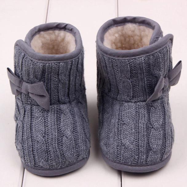 Bébé arc chaussures semelle souple hiver chaud